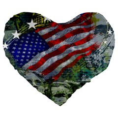 Usa United States Of America Images Independence Day Large 19  Premium Flano Heart Shape Cushions