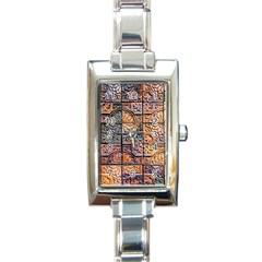 Wooden Blocks Detail Rectangle Italian Charm Watch