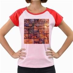 Wooden Blocks Detail Women s Cap Sleeve T Shirt