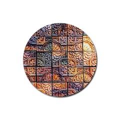 Wooden Blocks Detail Rubber Coaster (Round)
