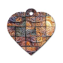 Wooden Blocks Detail Dog Tag Heart (Two Sides)