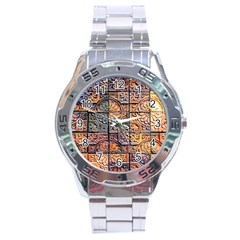 Wooden Blocks Detail Stainless Steel Analogue Watch