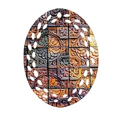 Wooden Blocks Detail Oval Filigree Ornament (Two Sides)