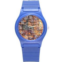 Wooden Blocks Detail Round Plastic Sport Watch (S)