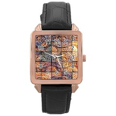 Wooden Blocks Detail Rose Gold Leather Watch