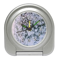 Frosted Winter Texture Travel Alarm Clocks