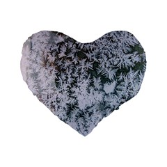 Frosted Winter Texture Standard 16  Premium Heart Shape Cushions