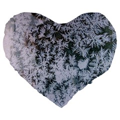 Frosted Winter Texture Large 19  Premium Flano Heart Shape Cushions