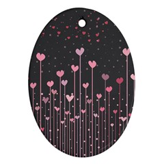Pink Hearts On Black Background Ornament (Oval)
