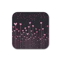 Pink Hearts On Black Background Rubber Coaster (Square)