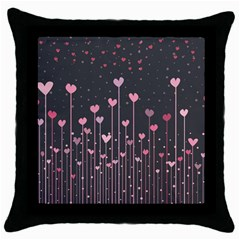 Pink Hearts On Black Background Throw Pillow Case (Black)