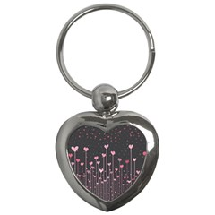 Pink Hearts On Black Background Key Chains (Heart)