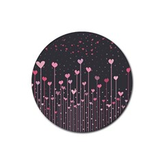 Pink Hearts On Black Background Rubber Coaster (Round)