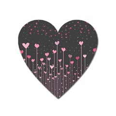 Pink Hearts On Black Background Heart Magnet
