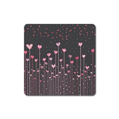 Pink Hearts On Black Background Square Magnet