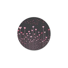 Pink Hearts On Black Background Golf Ball Marker