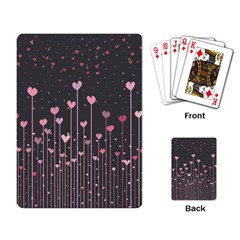 Pink Hearts On Black Background Playing Card