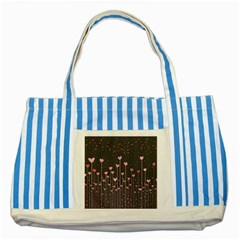 Pink Hearts On Black Background Striped Blue Tote Bag