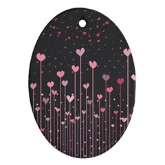 Pink Hearts On Black Background Oval Ornament (two Sides)