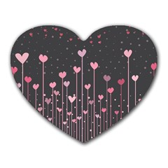 Pink Hearts On Black Background Heart Mousepads
