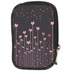 Pink Hearts On Black Background Compact Camera Cases