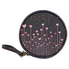 Pink Hearts On Black Background Classic 20-CD Wallets