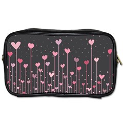Pink Hearts On Black Background Toiletries Bags 2-Side