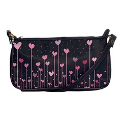 Pink Hearts On Black Background Shoulder Clutch Bags