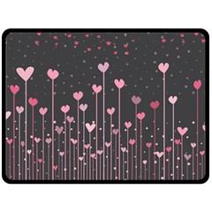 Pink Hearts On Black Background Fleece Blanket (large)