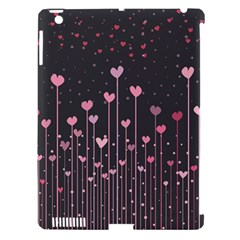 Pink Hearts On Black Background Apple iPad 3/4 Hardshell Case (Compatible with Smart Cover)