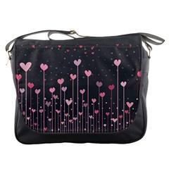 Pink Hearts On Black Background Messenger Bags
