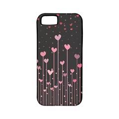 Pink Hearts On Black Background Apple iPhone 5 Classic Hardshell Case (PC+Silicone)