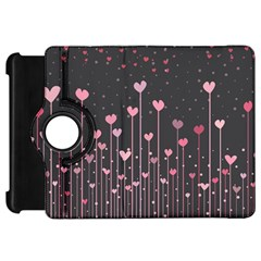 Pink Hearts On Black Background Kindle Fire HD 7