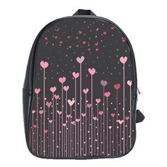 Pink Hearts On Black Background School Bags (XL)