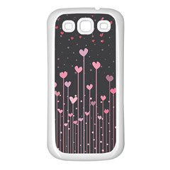 Pink Hearts On Black Background Samsung Galaxy S3 Back Case (White)