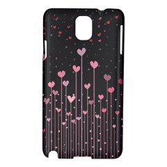 Pink Hearts On Black Background Samsung Galaxy Note 3 N9005 Hardshell Case