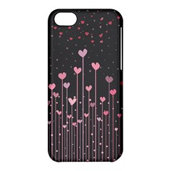 Pink Hearts On Black Background Apple iPhone 5C Hardshell Case