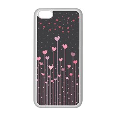 Pink Hearts On Black Background Apple iPhone 5C Seamless Case (White)