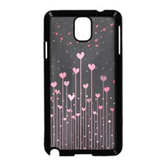 Pink Hearts On Black Background Samsung Galaxy Note 3 Neo Hardshell Case (Black)