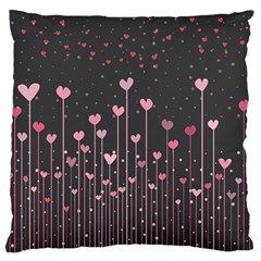 Pink Hearts On Black Background Large Flano Cushion Case (One Side)