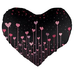 Pink Hearts On Black Background Large 19  Premium Flano Heart Shape Cushions