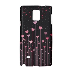 Pink Hearts On Black Background Samsung Galaxy Note 4 Hardshell Case