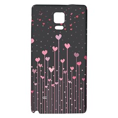 Pink Hearts On Black Background Galaxy Note 4 Back Case