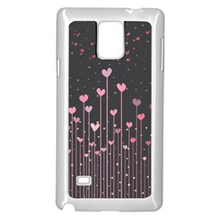 Pink Hearts On Black Background Samsung Galaxy Note 4 Case (White)