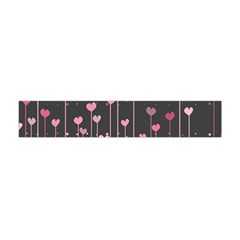 Pink Hearts On Black Background Flano Scarf (Mini)