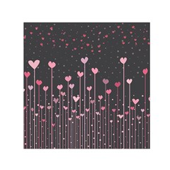 Pink Hearts On Black Background Small Satin Scarf (Square)