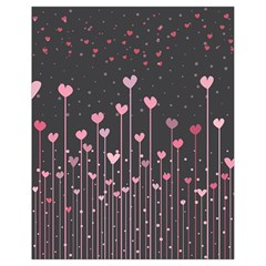 Pink Hearts On Black Background Drawstring Bag (Small)