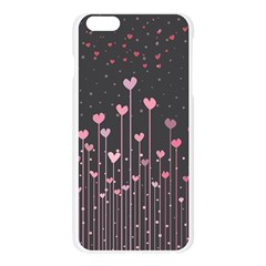 Pink Hearts On Black Background Apple Seamless iPhone 6 Plus/6S Plus Case (Transparent)