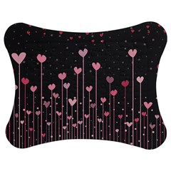 Pink Hearts On Black Background Jigsaw Puzzle Photo Stand (Bow)