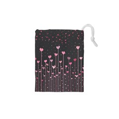 Pink Hearts On Black Background Drawstring Pouches (XS)